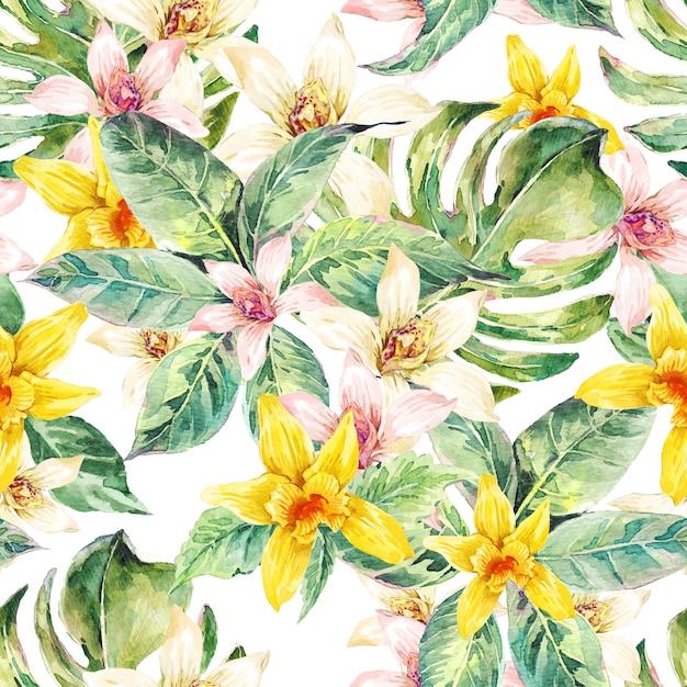 自然の葉水彩のシームレスパターン、花の蘭 Premium写真