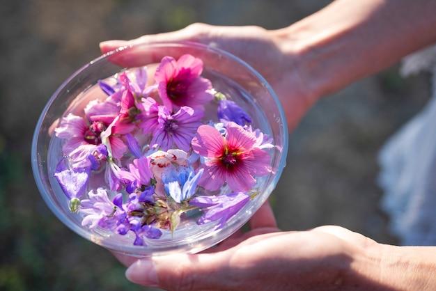 植物のチンキ剤と花 Premium写真