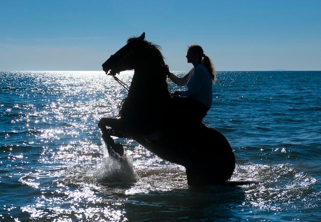 Лошадь женщина в море Premium Фотографии