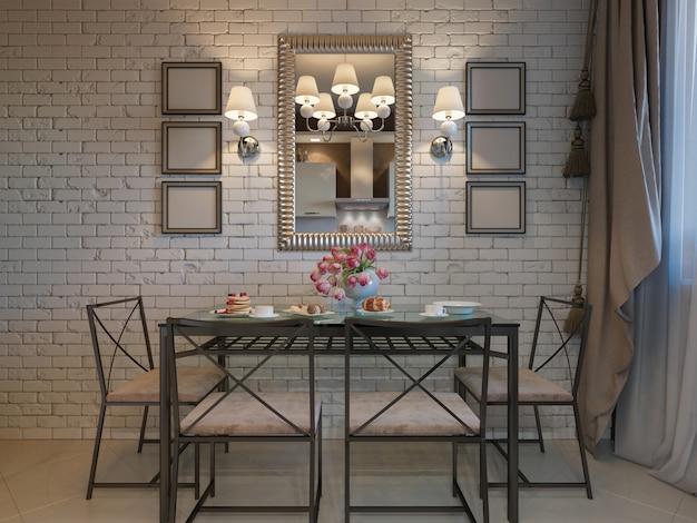 ベージュのファサードと鍛造からの家具とキッチンの Premium写真