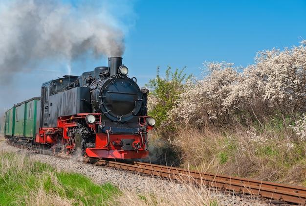 リューゲン島の歴史的な蒸気機関車 Premium写真