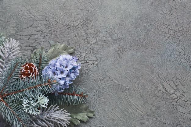 モミの小枝、ヒヤシンスの花と緑の背景の葉と緑と青の冬の花コーナー、 Premium写真