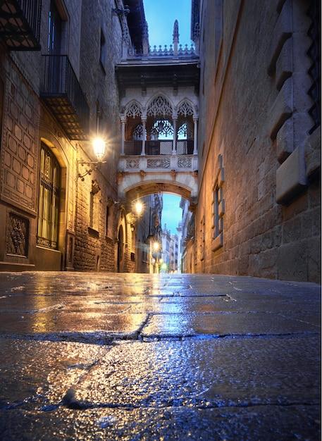 Освещенная средневековая улица каррер дель бисбе с мостом вздоха Premium Фотографии