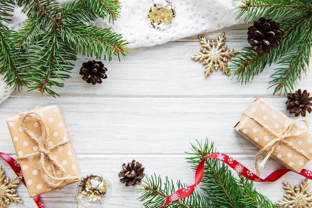 Рождественский праздник фон рамки Premium Фотографии