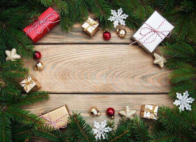 クリスマスホリデーフレームの背景 Premium写真