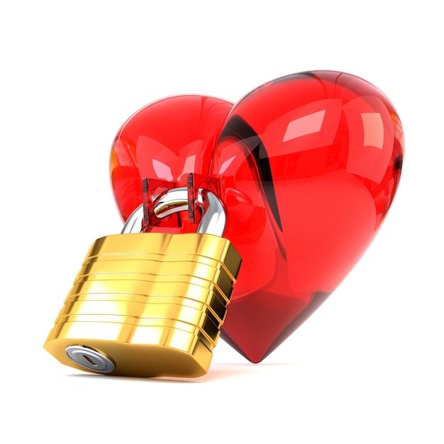 白い背景で隔離の南京錠と赤いハート。 Premium写真