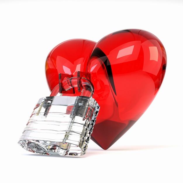 白い背景に分離されたクリスタル南京錠と赤い三次元ハート。 Premium写真