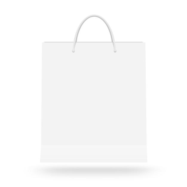 分離ハンドル付きの空白のホワイトペーパーバッグ Premium写真
