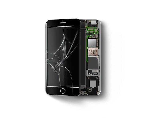 分離、チップ、マザーボード、プロセッサ内の壊れた電話 Premium写真