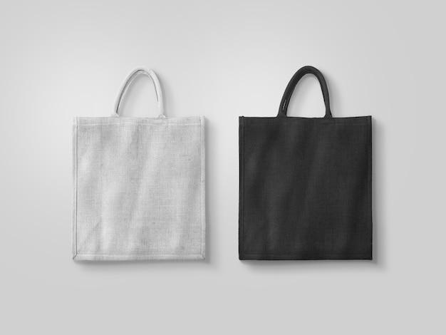 分離された空白の白と黒の綿エコバッグ Premium写真