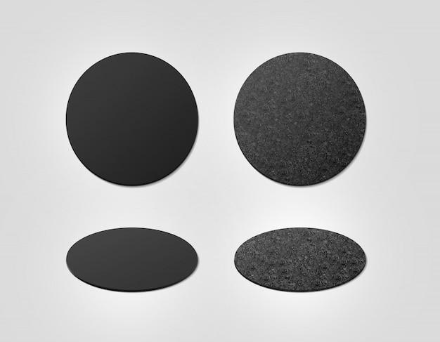 Пустые черные и пробковые текстурированные подставки под пиво Premium Фотографии