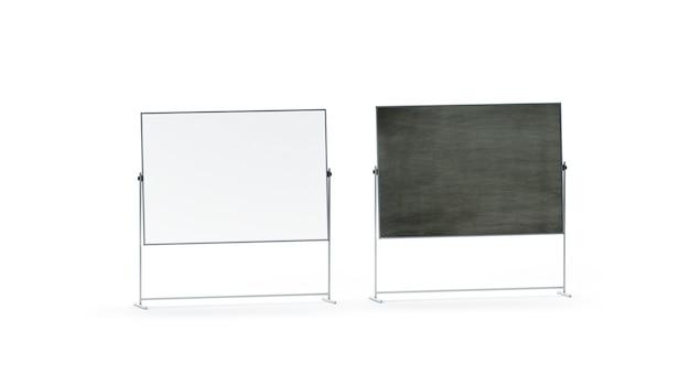 空白の白と黒のオフィスマーカーボードセット、分離、 Premium写真