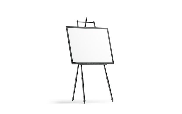 空白の白いアートキャンバスは黒い木製イーゼルの上に立つ Premium写真