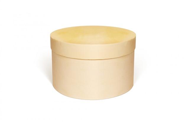 丸い空白の木箱分離モックアップ Premium写真