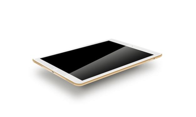 モックアップゴールドタブレット現実的なスタイル。 Premium写真