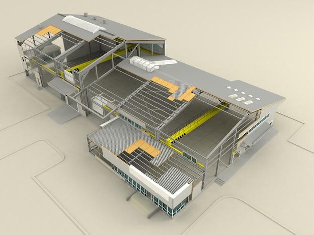 Этапы строительства на высокотехнологичных панелях Premium Фотографии