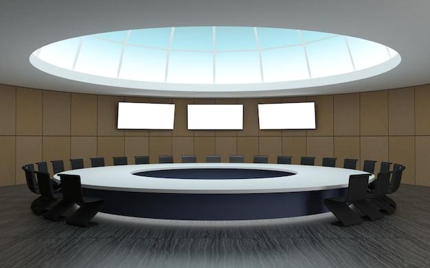 大きなテーブルのある丸いドーム型の会議用会議室 Premium写真