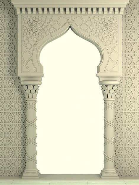 モザイクの東の包囲弓。彫刻が施された建築と古典的な柱。インド風装飾的な建築フレーム。 Premium写真