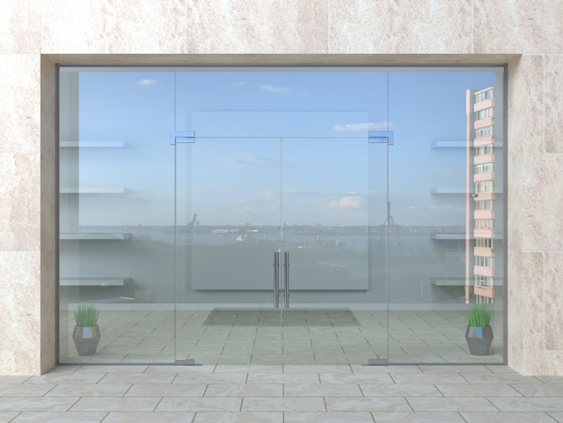 ホールのガラスパーティションとドア Premium写真