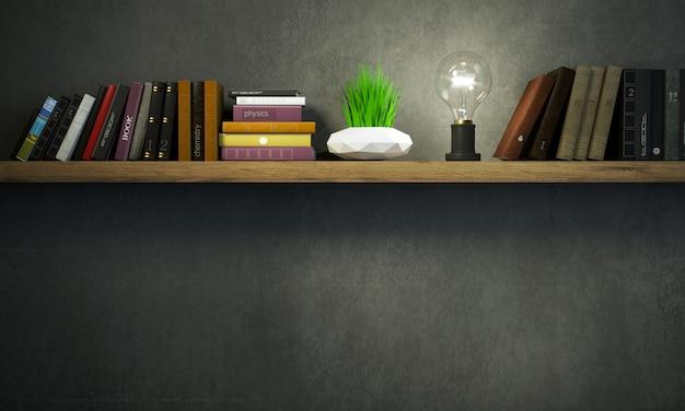 Баннерная книжная полка в темной комнате Premium Фотографии