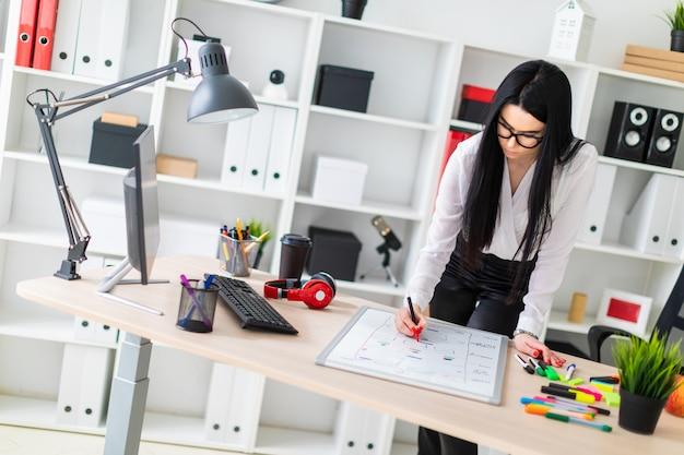 若い女の子がコンピューター机の近くに立って、磁気ボードにマーカーを描きます。 Premium写真