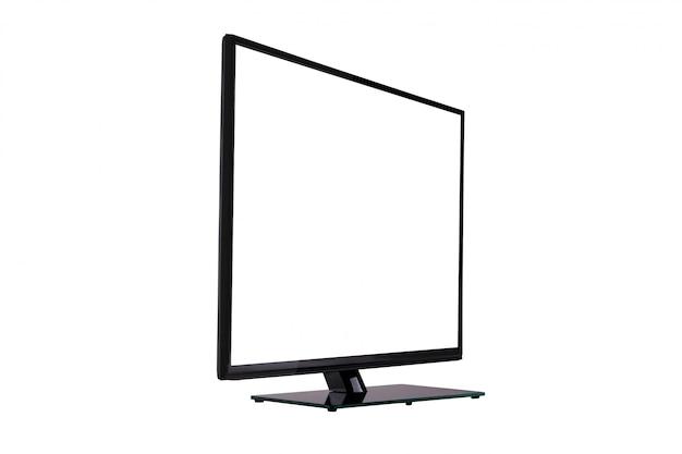 白で隔離される黒いガラスのスタンドにモダンなスリムプラズマテレビ Premium写真