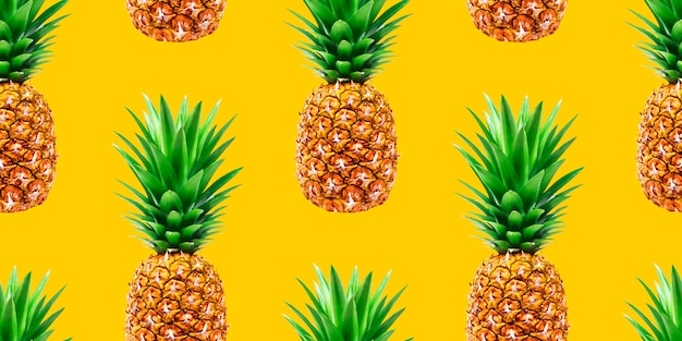 Бесшовный узор ананас на желтом фоне Premium Фотографии