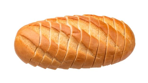白い背景に分離された白パンをスライス Premium写真