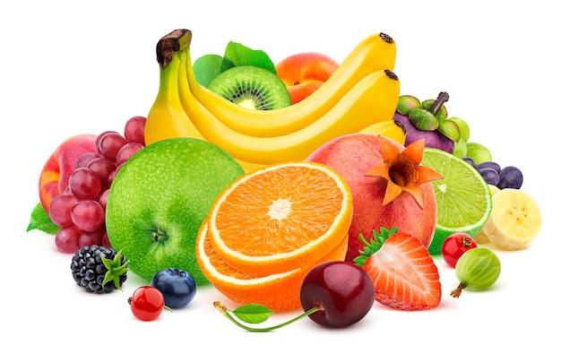 白い背景で隔離の果物 Premium写真