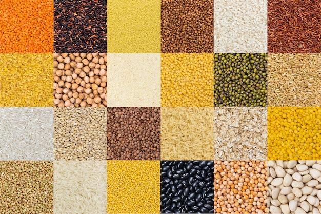 Различные зерновые, зерновые, рис и бобы Premium Фотографии