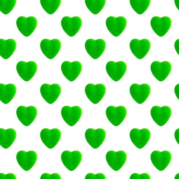 緑のハートのシームレスパターン Premium写真