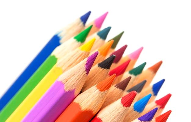 多色鉛筆のグループ、クローズアップ Premium写真