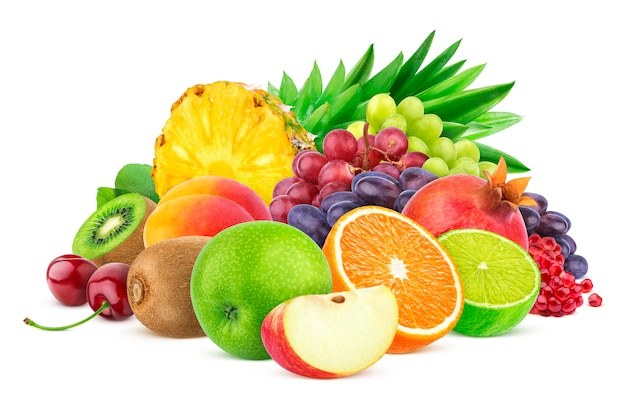 さまざまな果物や果実の白で隔離 Premium写真