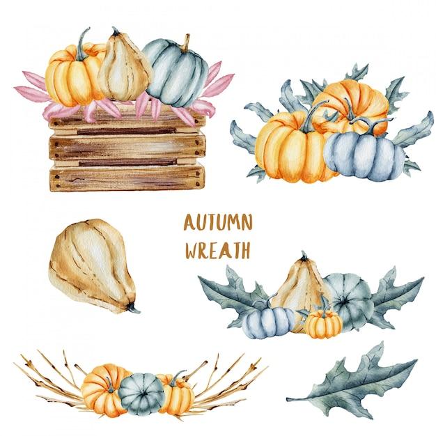 水彩のかぼちゃと葉のコレクション Premium写真