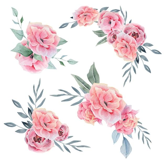 ピンクの水彩画の花の組成 Premium写真