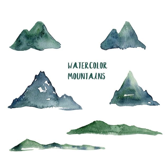 水彩山脈の図 Premium写真