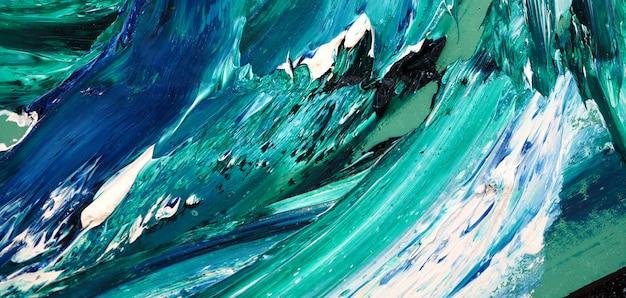 海の波。カラフルなテクスチャの絵画。抽象的な背景の明るい色の芸術的なしぶき。 Premium写真