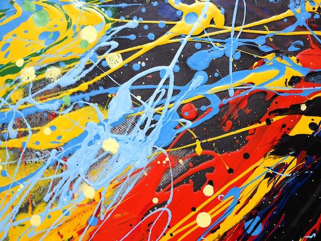 油絵の具カラフルなスプラッシュドロップ甘い色の抽象的な背景とテクスチャ。 Premium写真
