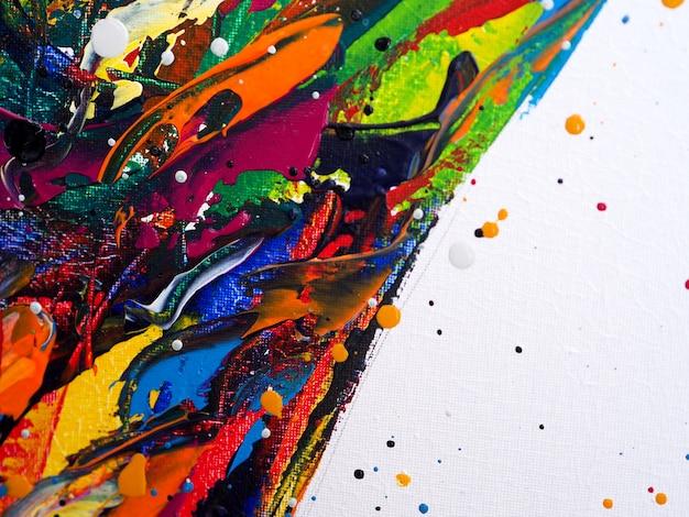 油絵の具カラフルなブラシストロークのスプラッシュドロップ甘い色の抽象的な背景とテクスチャ。 Premium写真
