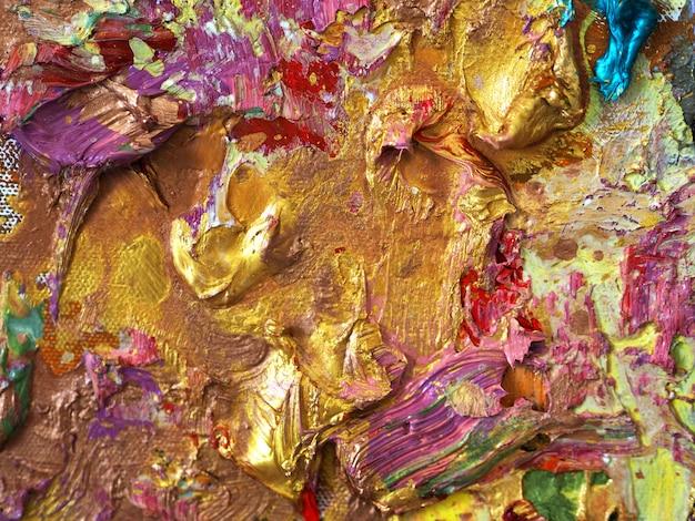 ゴールドのカラフルな色の油絵テクスチャの抽象的な背景。 Premium写真