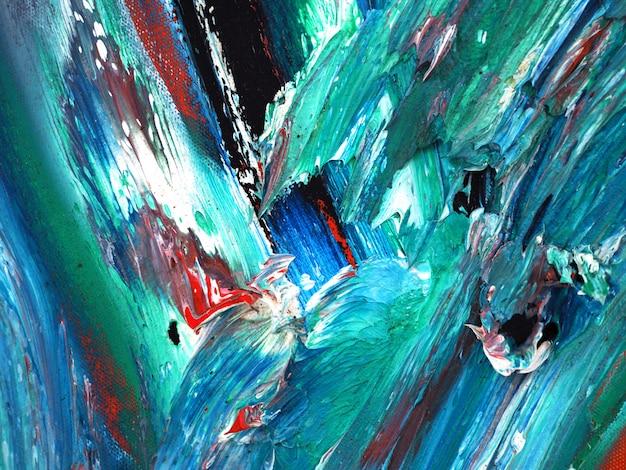 オイルグリーン塗装の抽象的な背景とキャンバス上のテクスチャ Premium写真