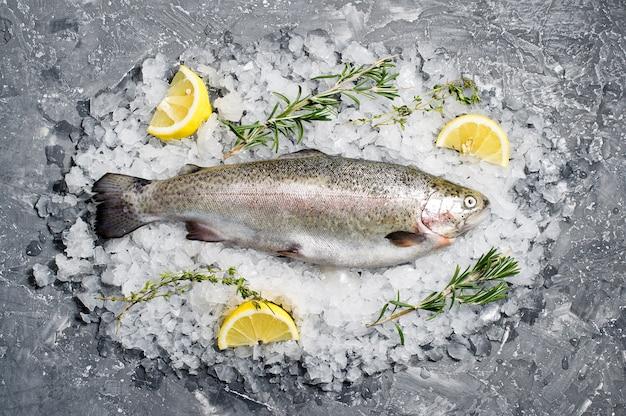 氷の上で生のマス。材料ローズマリー、レモン。 Premium写真