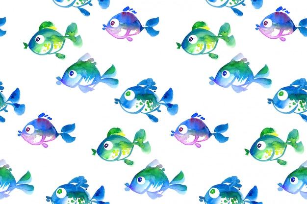 かわいい熱帯魚のシームレスパターン。水彩の手描きイラスト Premium写真