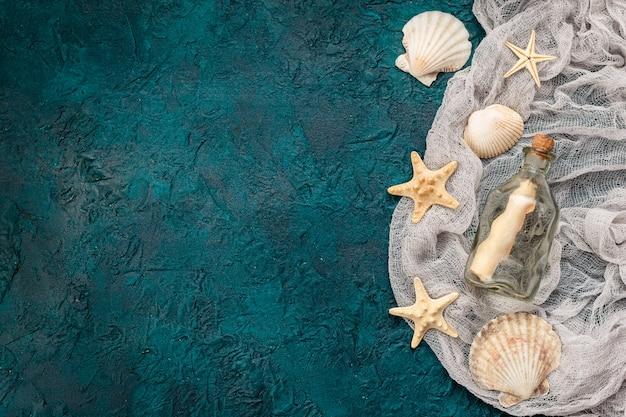 暗いターコイズブルーの背景に貝殻 Premium写真