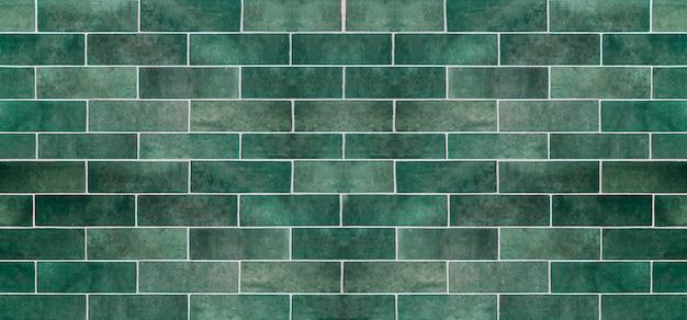 Зеленая керамическая плитка фон. старые старинные керамические плитки зеленого цвета для украшения кухни или ванной комнаты Premium Фотографии
