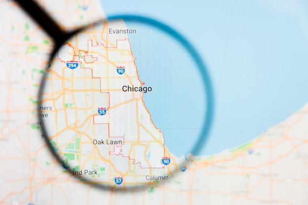 アメリカ合衆国地図上の虫眼鏡 Premium写真