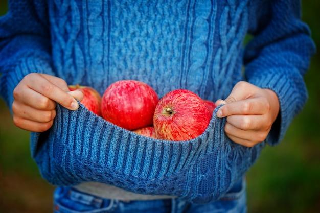 Закройте красное яблоко в руках детей в осенний день Premium Фотографии