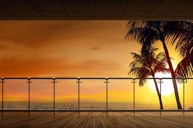 夕暮れ時の海の美しい景色 Premium写真