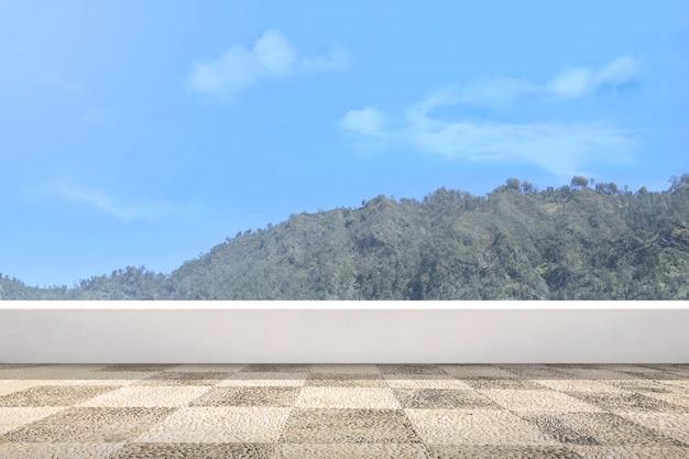 緑の丘の景色と青い空とテラス Premium写真