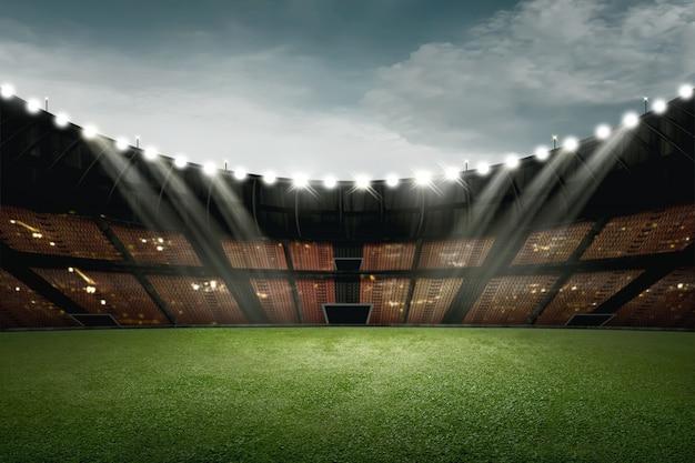 緑の芝生と照明用ライトフットボールスタジアムデザイン Premium写真